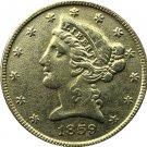 US 1859 Liberty Coronet Head Five Dollar Gold Copy Coins