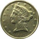 US 1861 Liberty Coronet Head Five Dollar Gold Copy Coins