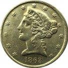 US 1863 Liberty Coronet Head Five Dollar Gold Copy Coins