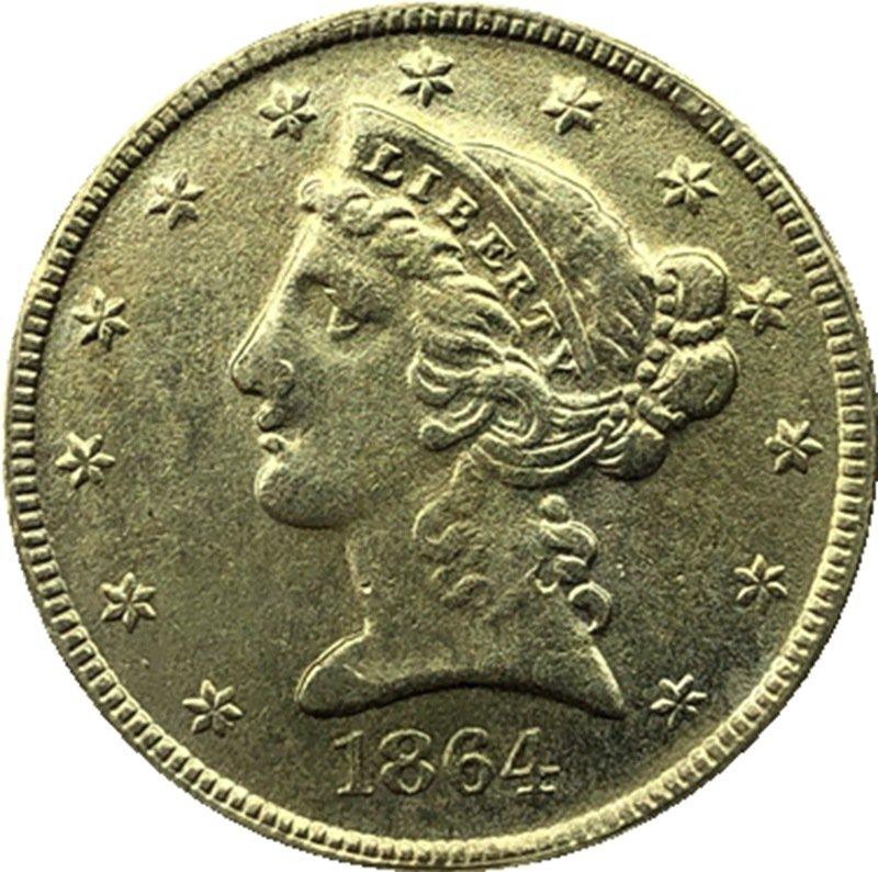 US 1864 Liberty Coronet Head Five Dollar Gold Copy Coins