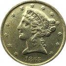 US 1865 Liberty Coronet Head Five Dollar Gold Copy Coins