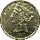 US 1867 Liberty Coronet Head Five Dollar Gold Copy Coins