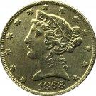 US 1868 Liberty Coronet Head Five Dollar Gold Copy Coins