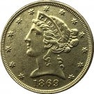 US 1869 Liberty Coronet Head Five Dollar Gold Copy Coins