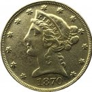 US 1870 Liberty Coronet Head Five Dollar Gold Copy Coins