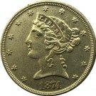 US 1874 Liberty Coronet Head Five Dollar Gold Copy Coins