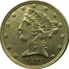 US 1875 Liberty Coronet Head Five Dollar Gold Copy Coins