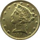 US 1881 Liberty Coronet Head Five Dollar Gold Copy Coins