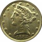 US 1882 Liberty Coronet Head Five Dollar Gold Copy Coins