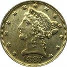 US 1887 Liberty Coronet Head Five Dollar Gold Copy Coins