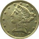 US 1888 Liberty Coronet Head Five Dollar Gold Copy Coins