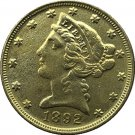 US 1892 Liberty Coronet Head Five Dollar Gold Copy Coins