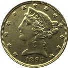 US 1895 Liberty Coronet Head Five Dollar Gold Copy Coins
