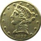 US 1899 Liberty Coronet Head Five Dollar Gold Copy Coins