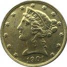 US 1901 Liberty Coronet Head Five Dollar Gold Copy Coins
