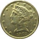 US 1902 Liberty Coronet Head Five Dollar Gold Copy Coins