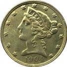 US 1904 Liberty Coronet Head Five Dollar Gold Copy Coins