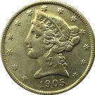 US 1905 Liberty Coronet Head Five Dollar Gold Copy Coins