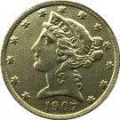 US 1907 Liberty Coronet Head Five Dollar Gold Copy Coins
