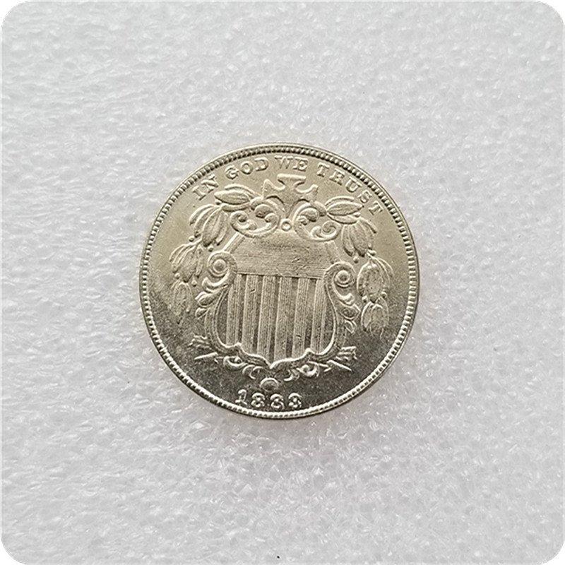 US 1883 Shield Nickel 5 Cents Copy Coins