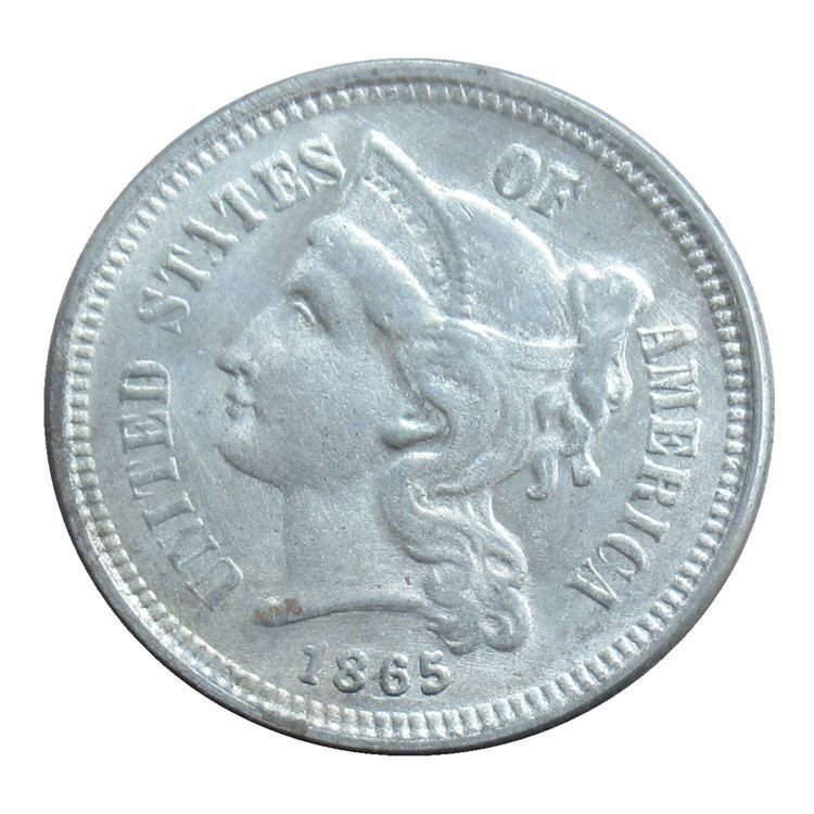 US 1865 Three Cent Nickel 3 Cents Copy Coins