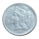 US 1867 Three Cent Nickel 3 Cents Copy Coins