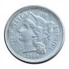 US 1869 Three Cent Nickel 3 Cents Copy Coins