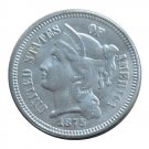 US 1875 Three Cent Nickel 3 Cents Copy Coins