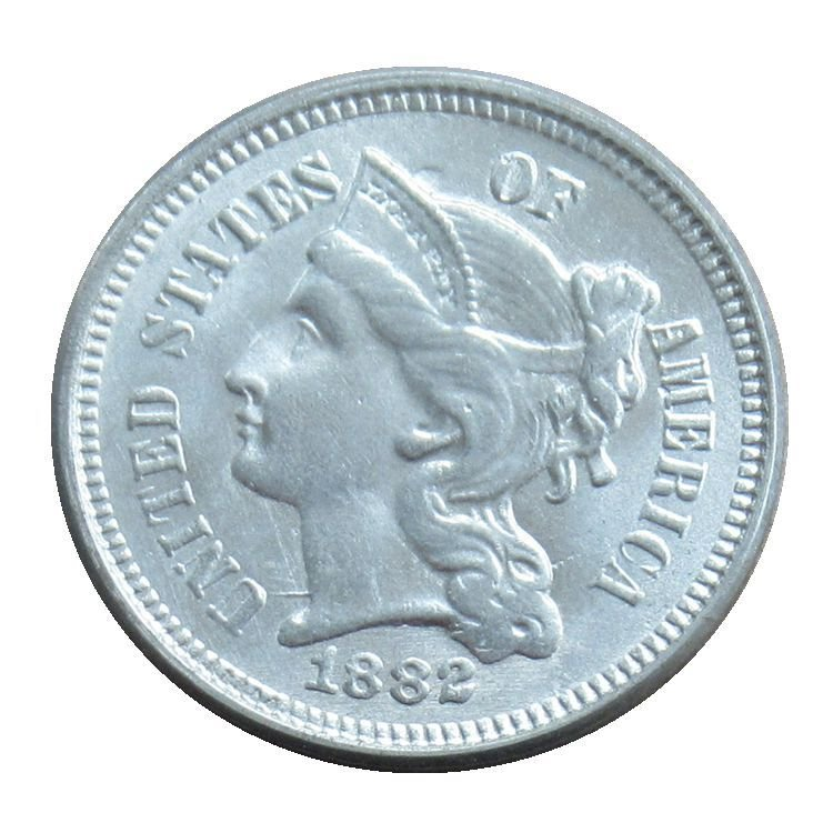 US 1882 Three Cent Nickel 3 Cents Copy Coins