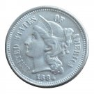 US 1884 Three Cent Nickel 3 Cents Copy Coins