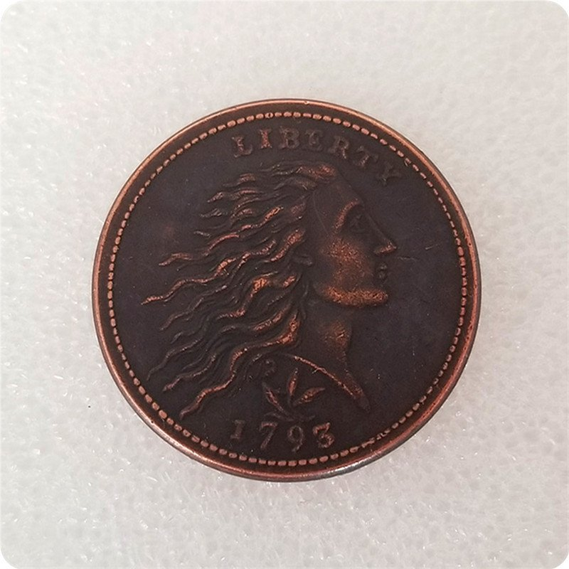 US 1793 Flowing Hair Wreath Leaf One Cent Copy Coins