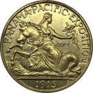 United States 1915-S Coin USA 2 1/2 Dollars Panama - Pacific Exposition Metal Brass Gold Copy Coin
