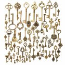 70Pcs Skeleton Antique Vintage Bronze Keys Fancy Heart Pendant Necklace Decor