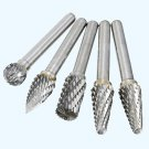 "1/4"" Shank Double Cut Burr Bit Carbide Rotary Grinder Die Engraving Tool Set 5pc Hown store"