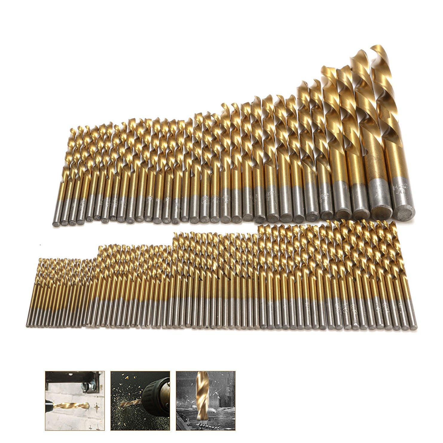 "Drill Bits HSS Titanium Coated 1/16""  25/64"" Plastic Wood Metal DIY Power Tool"