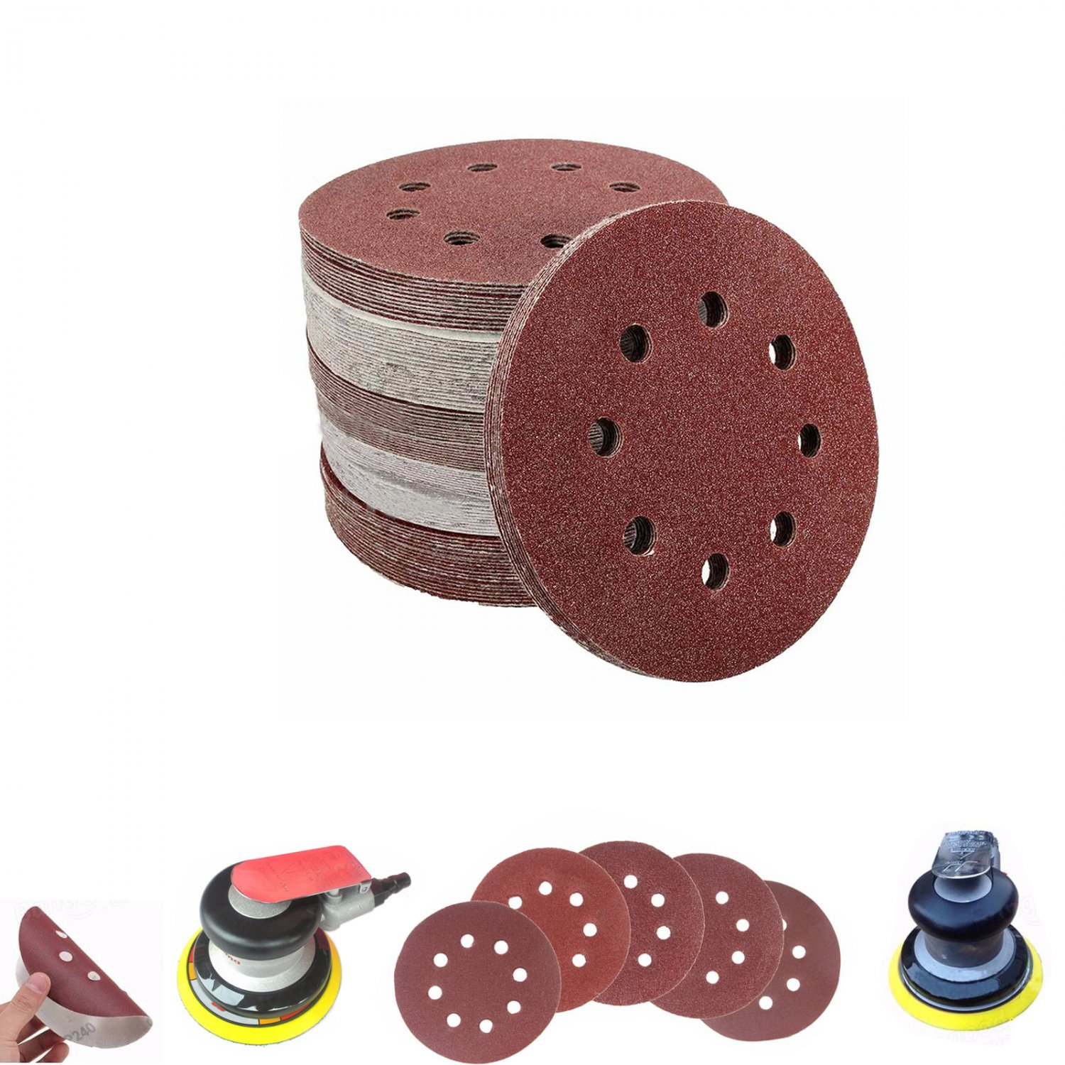 Sanding Discs Abrasive Sand Paper Pads 50 Pack 8 Hole 125mm Dia Assorted Grit Hown store