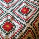 """Handcrafted Crocheted """"Poinsettia"""" King Size Afghan"""