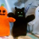 Handcrafted Crocheted Ghost, Bat and Pumpkin Hand Puppets