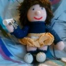 "Handcrafted Crocheted 16"" ""Michigan Wolverine"" Cheerleader Stuffed Doll"