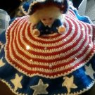 """Handcrafted Crocheted """"Patriotic Lady"""" Bed/Pillow Doll"""