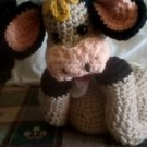 """Handcrafted Crocheted """"Chillin' Cow"""" Stuffed Toy/Doll"""