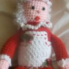 """Handcrafted Crocheted """"Mrs. Claus"""" Shelf Sitter Decoration"""