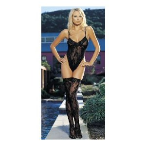 Black Floral Lace Teddy Thigh Highs Set