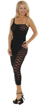 Music Legs Black Checker Long Gown with Spaggeti straps