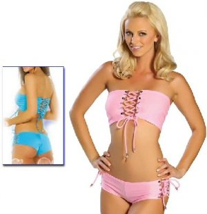 Blue Lace Up Top and Shorts Set Lingerie