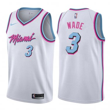 wholesale dealer c684c ddb3b Miami Heat Dwyane Wade #3 White City Edition Stitched Jersey