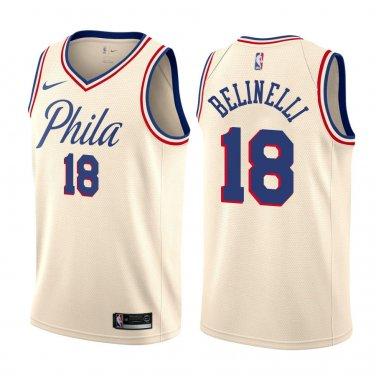 newest ad431 4eeb5 Philadelphia 76ers Marco Belinelli #18 Natural City Edition ...