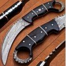 Handmade damascus hunting karambit knife Single edge (comes with sheath)
