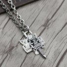 Chrome Hearts Pendant-S925 Sterling Silver Cross sword, personality punk style  dagger Pendant