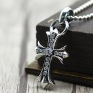 S925 Sterling Silver Mosaic zircon cross rock punk style Pendant-Chrome Hearts Pendant